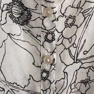 LOFT Tops - LOFT Semi Sheer Floral Print Pull Over Blouse